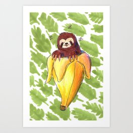 sloth banana Art Print