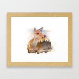 Sitting Deer Landscape Watercolor Framed Art Print