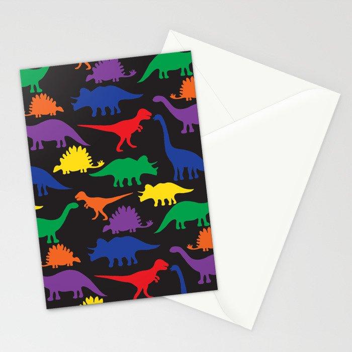 Dinosaurs - Black Stationery Cards