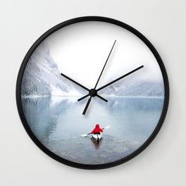 Kayaking Across A Canadian Lake Wall Clock