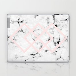 White Marble Concrete Look Blush Pink Geometric Squares Laptop & iPad Skin
