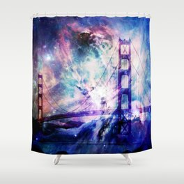 ultra violet golden gate bridge Shower Curtain