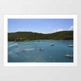 boats and blue Art Print