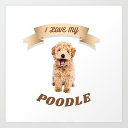 I Love My Poodle Art Print