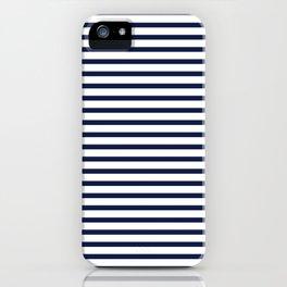 Navy Blue Nautical Stripes Minimal iPhone Case
