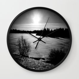 Black and White Lake Wall Clock