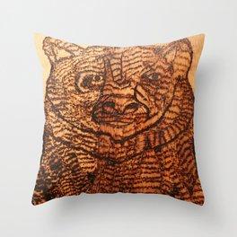 Bear pyrography Throw Pillow