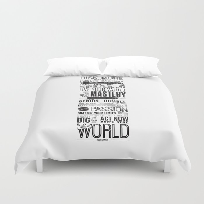 Lab No  4 - Robin Sharma Motivational Quotes Poster Duvet Cover