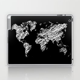 Invert scribble world map Laptop & iPad Skin