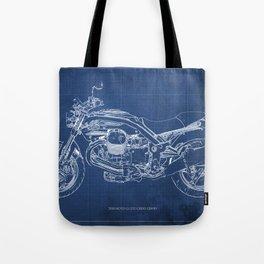 2010 Moto Guzzi Griso1200 8V, motorcycle blueprint, blue poster,milimiter,original poster,giftforhim Tote Bag