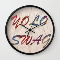 swag Wall Clocks featuring Yolo Swag by Cs025