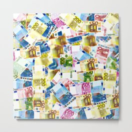 Colorful Euros Pattern - Money - LOA - Abundance - Cash Metal Print