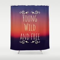 wiz khalifa Shower Curtains featuring Young Wild and Free by Josrick