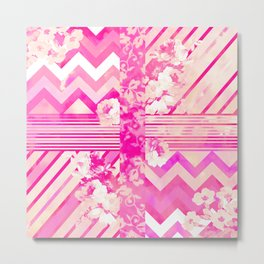 Girly Neon Pink Floral Stripes Chevron Pattern Metal Print