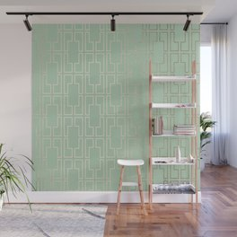 Simply Mid-Century in White Gold Sands and Pastel Cactus Green Wall Mural
