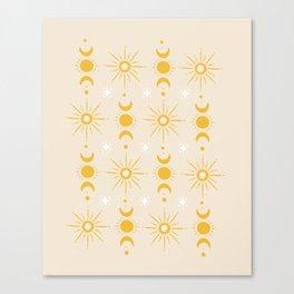 Yellow Sun & Moon Pattern Canvas Print