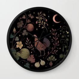 Wild Chicken with Autumn Vines Wall Clock