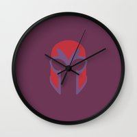 magneto Wall Clocks featuring Magneto Helmet by Minimalist Heroes