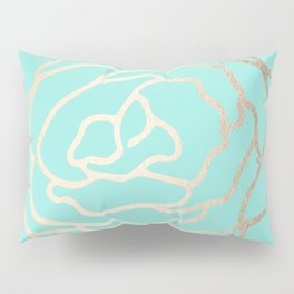 Flower in White Gold Sands on Tropical Sea Blue Pillow Sham
