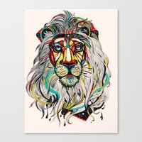 hipster lion Canvas Prints featuring Lion by Felicia Cirstea