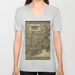 Vintage Map of Southern New England: Connecticut, Rhode Island, and Massachusetts Unisex V-Neck