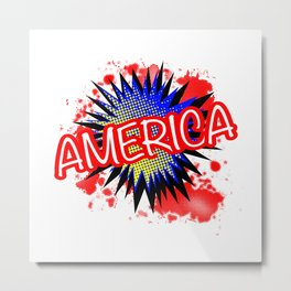 America Red White And Blue Cartoon Exclamation Metal Print