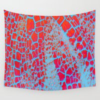 cracked Wall Tapestries featuring Cracked Red by Christine Aylen