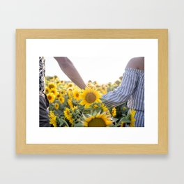 Couple holding hands in a sunflower field Framed Art Print
