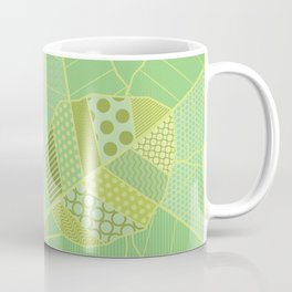 The Unique One (Green Patterned Leaf Patchwork) Coffee Mug