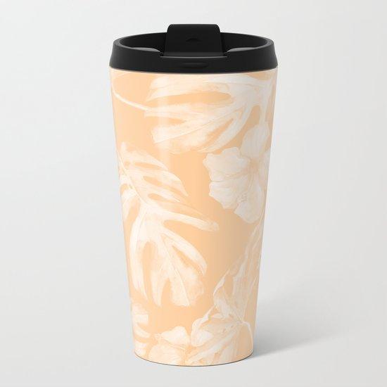 Island Vacation Hibiscus Palm Leaf Coral Mango Orange Metal Travel Mug