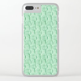 Soft Green Knit Textured Pattern Clear iPhone Case