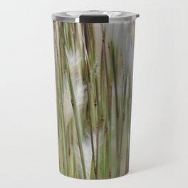 Wispy on green and magenta reeds Travel Mug