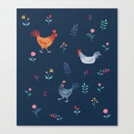 Little Hens (blue) Canvas Print