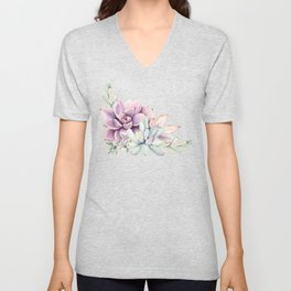 Desert Succulents on White Unisex V-Neck