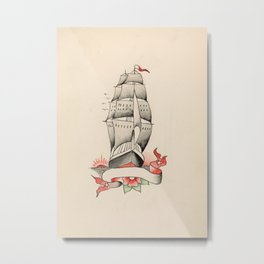 Vintage Tattoo Design with a Ship Metal Print