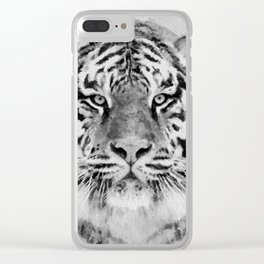 Black and White Tiger Mixed Media Digital Art Clear iPhone Case