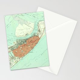 Vintage Map of Galveston Texas (1954) 3 Stationery Cards