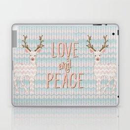 Love and Peace Knitting Deer Winter Christmas Art Laptop & iPad Skin