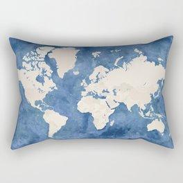 Navy blue watercolor and light brown world map Rectangular Pillow