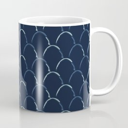 Scallop Indigo Tie Dye Hand Drawn Curved Lines Textile Coffee Mug