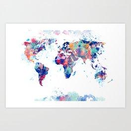 Coloful Splatter World Map Art Print
