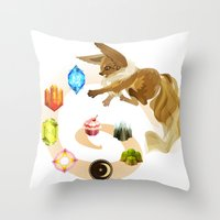 eevee Throw Pillows featuring Eevee by Katie O'Meara