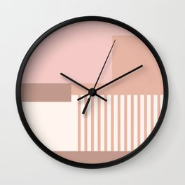 Sol Abstract Geometric Print in Pink Wall Clock