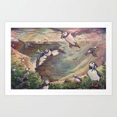 Cliffside Puffins Art Print