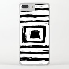 Minimal Black and White Square Rectangle Pattern Clear iPhone Case