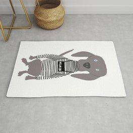 Weim Jailbird Grey Ghost Weimaraner Dog Hand-painted Pet Drawing Rug