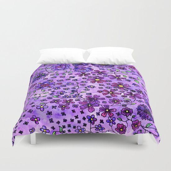 Purple Small Flowers Duvet Cover