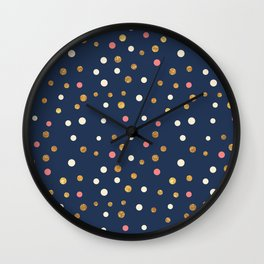 Hipster navy blue faux gold glitter modern polka dots Wall Clock