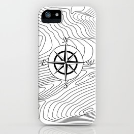 Topographic Line Pattern with Compass #797 iPhone Case
