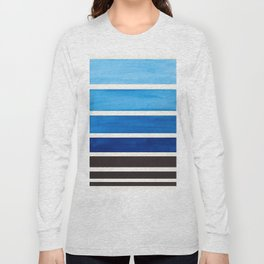 Blue Minimalist Mid Century Modern Color Fields Ombre Watercolor Staggered Squares Long Sleeve T-shirt